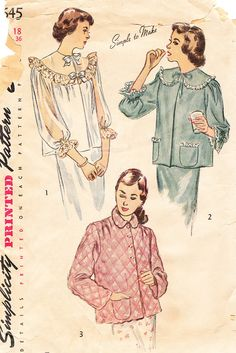 1940s Misses Bed Jacket Vintage Simplicity by BettieJoVintage