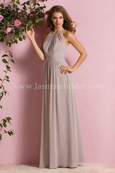 Jasmine Bridal Bridesmaid Dress B2 Style B173057 in Taupe // A beautiful Poly Chiffon bridesmaid dress that makes a wonderful addition to any bridal party. The dress features a high a halter neckline, keyhole back opening, and A-line skirt.