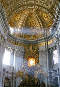 St. Peter's Basilica was built to impress: 198 feet wide, 145 tall, and 614 long (brass floor plaques show how much shorter other famous churches are), with cherubs the size of linebackers and enough great art to fill two museums.