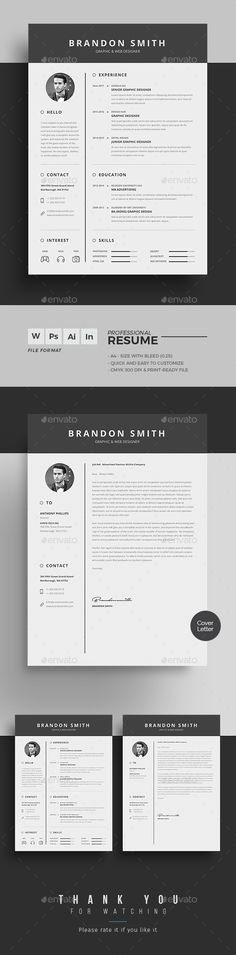 Buy Resume Word By Themedevisers On GraphicRiver. Resume Word Template / CV  Template With Super Clean And Modern Look. Clean Resume Template Page  Designs ...