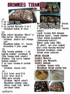 Brownies tiramisu Asian Desserts, Asian Recipes, Malay Cake, Brownie Recipes, Cookie Recipes, Resep Cake, Malay Food, Malaysian Food, Brownie Cake