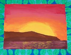 Warm/cool painting with a patterned border, in tempera. School Painting, Painting Lessons, Tempera, High School, Warm, Cool Stuff, Ideas, Grammar School, High Schools