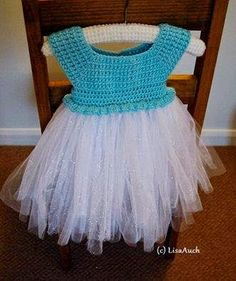 Free Crochet Patterns and Designs by LisaAuch: Crochet Top Tutu Dress for a toddler (Frozen Inspired Elsa Tutu Dress Up)