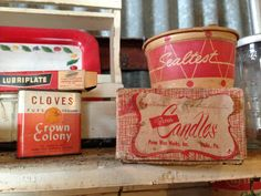 vintage packaging. red. thin scripts.