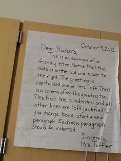 the fourth grades students are learning the proper format for creating a friendly letter teaching