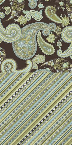 Double Face Quilt Fabric- Brown & Turquois Paisley, , hi-res