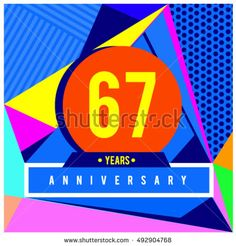 67th years greeting card anniversary with colorful number and frame. logo and icon with Memphis style cover and design template. Pop art style design poster and publication.