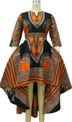 Dashiki ankara wax African print high low dress by UrbaneAfrican African Print Clothing, African Print Dresses, African Fashion Dresses, African Dress, Fashion Outfits, African Dashiki, Nigerian Fashion, Ankara Fashion, African Prints