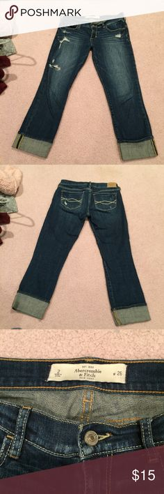 Abercrombie & Fitch jeans Abercrombie & Fitch jean capris. Size 2, low rise. A little distressing. Abercrombie & Fitch Jeans Ankle & Cropped