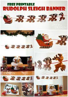 Rudolph Banner - Free Printable Christmas Banner - Christmas Craft For Kids