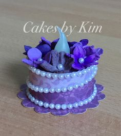 """Violets"" Tea Light Cake (made by Kim) Tea Light Lanterns, Tea Light Candles, Tea Lights, Light Cakes, Paper Cake, Diy Cake, Craft Shop, Diy Doll, Fondant Cakes"