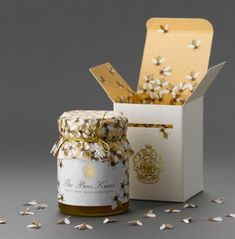 """Packaging commissioned as a consumer gift for the limited amount of honey produced at the top of Klein Constantia – """"Bee Knees"""" honey packaging designed by At Pace"""