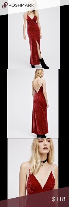 """Free People red nude trim Crushed Velvet Stretch L Free People Intimately Free People red with nude trim Crushed Velvet Stretch Column Maxi Dress  by Lila Wine back & front Deep V neck with high center slit  New With Tags  *  Size:  Large retail price:  $138.00  62% polyester * 29% nylon * 9% spandex 100% nylon trim  38"""" around bust 40"""" around waist relaxed 62"""" long Free People Dresses Maxi"""