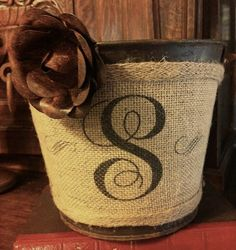 Vintage Rustic Burlap Monogram Bucket Pail by VintageWicksNMore