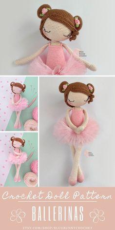 Ballerina Crochet Doll Pattern, 14,5 inches - 37cm Amigurumi Doll Pattern, Ballerina Skirt, Tutu Diy Ballerina Rosie, Amigurumi Crochet Pattern. Ballerina Crochet Doll Pattern 14,5 inches - 37cm This is a DOWNLOADABLE TUTORIAL. Written in English. Using US terminology. Bunny Crochet, Diy Crochet Doll, Crochet Flower Tutorial, Crochet Doll Pattern, Cute Crochet, Crochet Patterns, Amigurumi Doll, Amigurumi Patterns, Doll Patterns