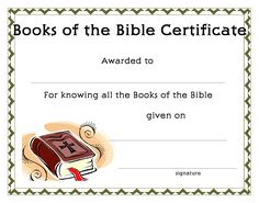 www.certificatetemplate.org-Books of the Bible Certificate for your Kids Ministry!