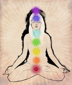Chakras top to bottom: Crown, Third Eye, Throat, Heart, Solar Plexus, Sacral and Root. Where the colour of a specific chakra to help restore balance to that area of the body.