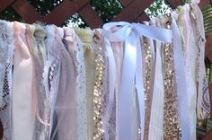 Ivory Burlap Lace Sequins Garland Bunting by ChangesByNeci on Etsy, $48.00
