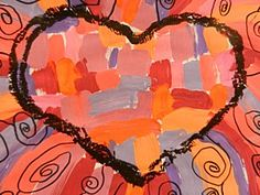 Jim Dine hearts--painting with analogous colors--paint mixing, handling, color awareness, etc. v-day?