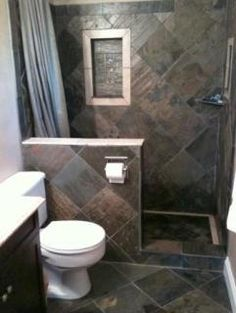 Small Bathroom : Remodel Small Bathroom With Brown Tile Wall Floor Decor And Bordered Recessed Shower Shelf And Simple Corner Shelf Small Bathroom Makeover Idea With Perfect Space Saving Theme To Make Room Look Bigger Bathroom Layout, Modern Bathroom Design, Bathroom Interior Design, Bathroom Shelves, Bathroom Organization, Condo Bathroom, Tiny Bathrooms, Bathroom Small, Bathroom Designs