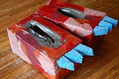 a bird and a bean: tissue box dinosaur feet