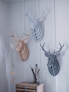 For Geoff. The mini moose heads are still cooler. 3-D Laser Cut Stags Head - Decorative Home