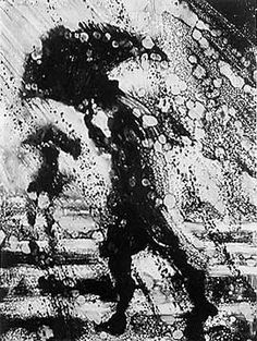 As the due date for my printmaking portfolio draws near, I found myself browsing other artists' work online. The above two prints are monotypes, a method using a plexiglass plate to press a o… Arte Black, Gravure Illustration, Rain Art, Umbrella Art, No Rain, Rain Storm, Dancing In The Rain, Rainy Days, Printmaking