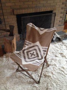 Indian Summer Butterfly Chair, Wood Frame, Pendleton Blanket Wool