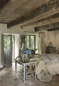 I love rustic, the hand hewn wood beams are beautiful to me.