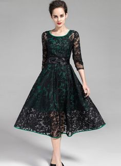 Teenloveme 2014 New Arrival Women's Elegant Round Neck Three Quarter Sleeves Floral Organza A-line Dress Black Tea Dresses, Vintage Dresses, Formal Dresses, Lace Midi Dress, Groom Dress, Lace Fabric, Elegant, Spring Trifle, Wedding Outfits