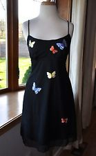 Tadashi Vintage Petite PM Black Mesh Skater Dress Butterfly Applique for Saks