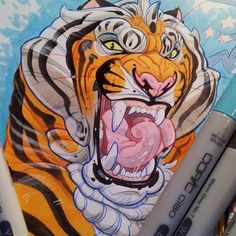 Another toungtwistwer kitty! Myeeehhh 8p copicarkers and red and blue pencils. Bit of ink on the eyes. Extra white paper, phone camera snap. there be more kitties on this page but ill show em laters, not just tigers x)  #tiger #tounge #bigcat #bigcats #cat #kitty #bengal #fluffy #art #drawing #draw #illustration #realmedia #copicmarkers #animal #feline #igart #instasraw #artoftheday #sketchbook #2d