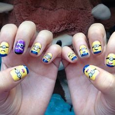 Ever since watching Despicable Me a few weeks ago, I know I'm late to the game; I can't stop obsessing over the cute minions! I am in love and really wish I cou | See more about minion nails, nail designs and minions.