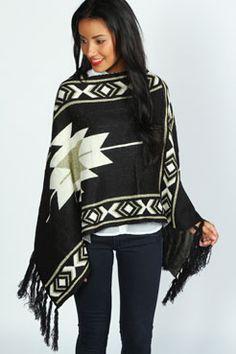 Amy Aztec Knit Poncho at boohoo.com