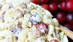 Delicious Chicken Salad made with chicken breast meat, elbow macaroni, grapes, and toasted almonds. It's great in sandwiches and to take on a picnic. Homemade Macaroni Salad, Macaroni Salad Ingredients, Pasta Salad Recipes, Appetizer Salads, Yummy Appetizers, Macoroni Salad, Cooking Recipes, Snacks Recipes, Easy Recipes