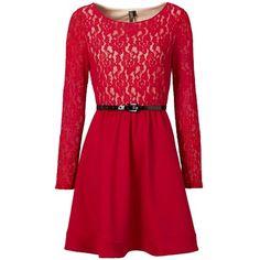 Kleid mit Gürtel - Tolles rotes Kleid von bonprix. Das Muster aus Spitze, das kräftige Rot und der süße Gürtel erzeugen alle zusammen den femininen Look dieses Kleides.-ab 39,99€