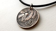 Italian necklace, Coin necklace, Insect necklace, Bee necklace, Coin jewelry, Insects, Coins, Leather necklace, Men's necklace, Italy, 1926 by CoinStories on Etsy