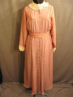 Costumes/20th Century/1930's/Women's Wear/1930's Women's Dresses/09011036 Dress 1938, Mauve Chiffon over Blue Silk, B36 W30