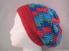 red slouchy with blue purple green and by HatsForHumansByCarol