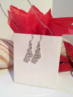 Sea Shell Trumpet Earrings Silver Earrings by JewelzonJewelz