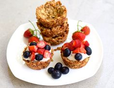 Gluten free granola cups are a great make ahead breakfast item that you can fill with this vegan banana cream and top with fruit. It also makes for a pretty dish to add to your next brunch.