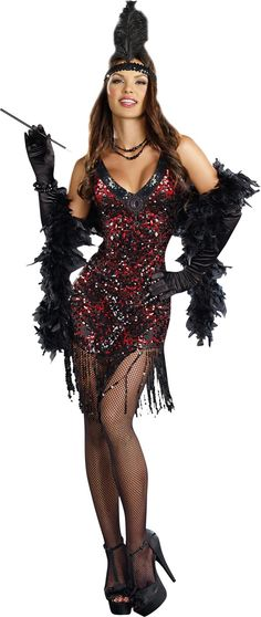 1920's style dress with reversible black/red dangling paillette sequins and black beaded neckline. Stretch sequin head piece with ostrich feather included. Boa, stockings, shoes, gloves, jewelry, and