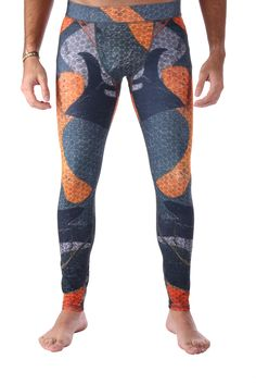 Army green and orange Men's legging