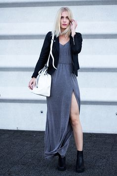 Anita V. - The Grey Maxi Dress