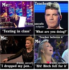 Haha texting the demi way