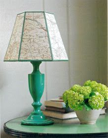 junkgarden: {Decorating with Maps} - this is perfect & easier than my last lampshade makeover