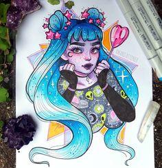 Amazing Drawings, Cool Drawings, Cartoon Drawings, Cartoon Art, Arte Sketchbook, Witch Art, Marker Art, Copics, Character Drawing