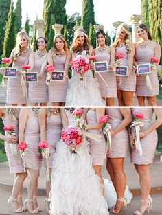 Blush bridesmaid dresses with single peony bouquets wrapped in gold ribbon @weddingchicks