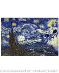 Vincent Van Gogh, Cat Lover Gifts, Cat Gifts, Cat Lovers, Gogh The Starry Night, Wall Art Prints, Poster Prints, Living Room Art, Art Decor