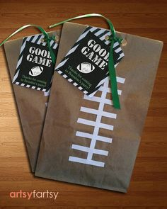 Football Goodie Bags Sports Party Bags by Football Goody Bags, Football Team Snacks, Cheer Snacks, Football Banquet, Football Birthday, Sports Birthday, Sports Party, Goodie Bags, Cheer Treats